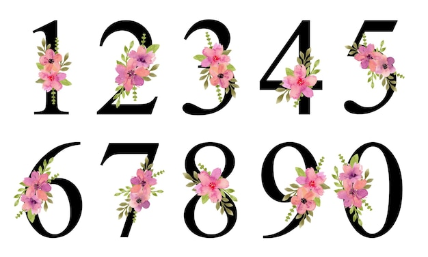 수채화 핑크 보라색 꽃 꽃다발과 숫자 디자인