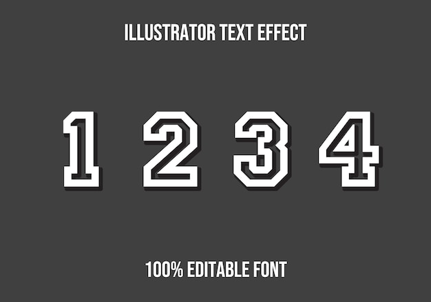 Numbers editable text effect