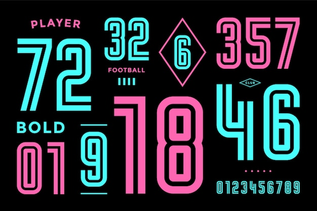 数字フォント。数字と数字のスポーツフォント。幾何学的な太字の要約数。デザイン、クリエイティブな活版印刷、ポスター用の強力な産業用インラインスポーツフォント。