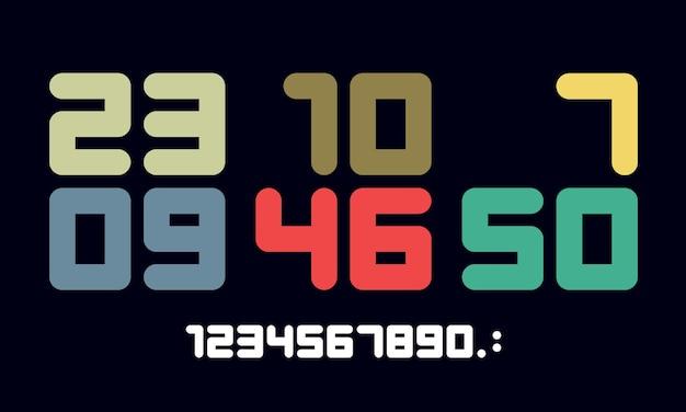 数字フォント。数字と数字のスポーツフォント。幾何学的な通常の余分な太字の丸みを帯びた色の数字。デザイン、クリエイティブな活版印刷、ポスター用の強力なスポーツフォント。ベクトルイラスト