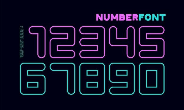 数字フォント。数字と数字のスポーツフォント。幾何学的な通常の余分な太字の丸みを帯びたアウトライン番号。デザイン、クリエイティブな活版印刷、ポスター用の強力なスポーツフォント。ベクトルイラスト