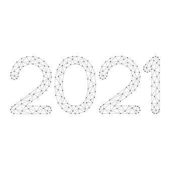 抽象的な未来的な多角形の黒い線と点からの数字 Premiumベクター