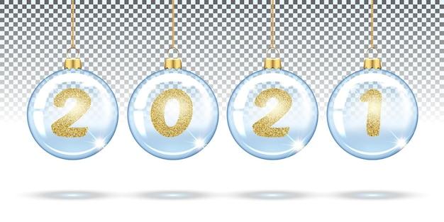 Цифры из золотого блеска, новый год, в новогодних прозрачных шарах елочные игрушки праздничные