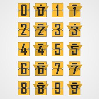 メカニカルスコアボードアルファベットからの数字。ベクトルイラスト