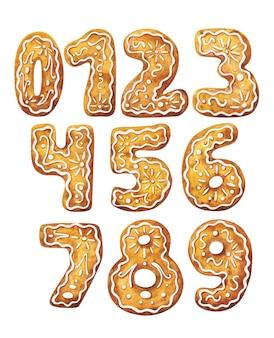 진저 브레드 형태로 0에서 9까지의 숫자. 수채화 삽화의 집합입니다.