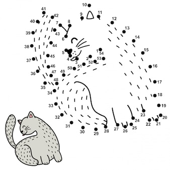 Numbers game for children. connect the dots and draw a funny cat licking its back.