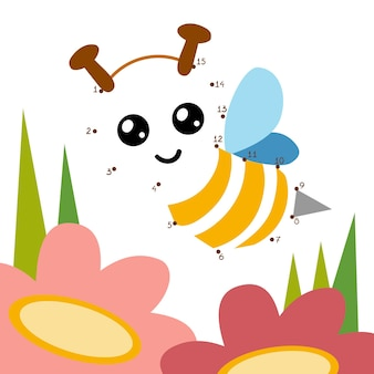 Numbers game, education dot to dot game for children, bee