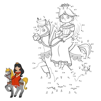 Numbers game, education dot to dot game for children, cartoon character, princess