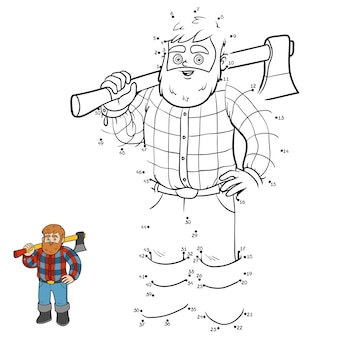 Numbers game, education dot to dot game for children, lumberjack