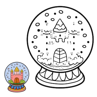 Numbers game, education dot to dot game for children, winter snowball with castle