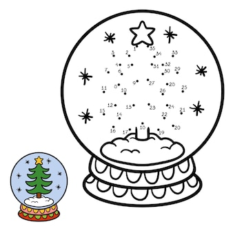 Numbers game, education dot to dot game for children, winter snowball with christmas tree