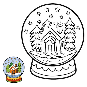 Numbers game, education dot to dot game for children, winter snowball with house