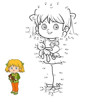 ナンバーゲーム、子供向けの教育ドットツードットゲーム、小さな女の子とテディベア