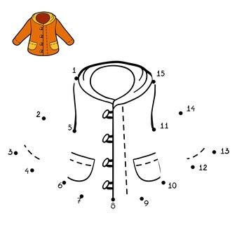 Игра чисел, образование точка-точка игра для детей, зимнее пальто