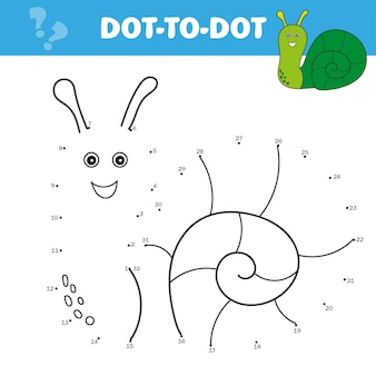 어린이를 위한 숫자 게임, 점이 찍힌 교육 게임. 귀여운 달팽이. 점들을 이으세요. 아이들을 위한 숫자 활동으로 점을 맞추세요. 어린이 교육 게임