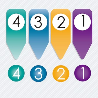 Numbers icons on circles and ribbons silver background