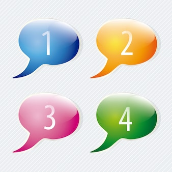 Numbers icons on colorful text balloons vector set