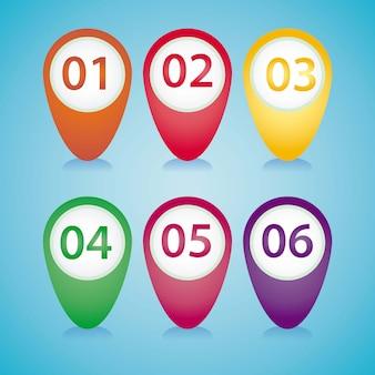 다른 색상으로 숫자와 숫자 아이콘 핀 포인터