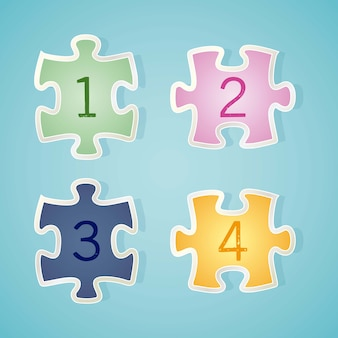 Numbers icons on puzzle piece vector illustration
