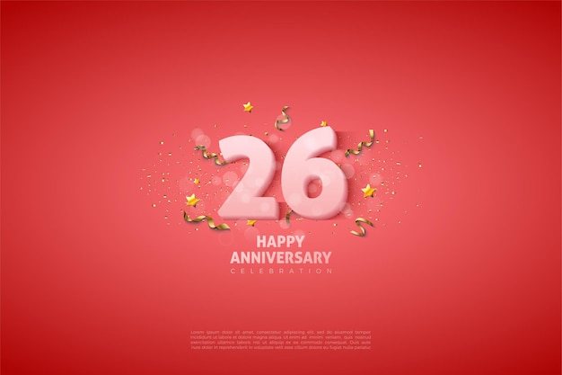 26周年記念の柔らかな白いイラストの数字