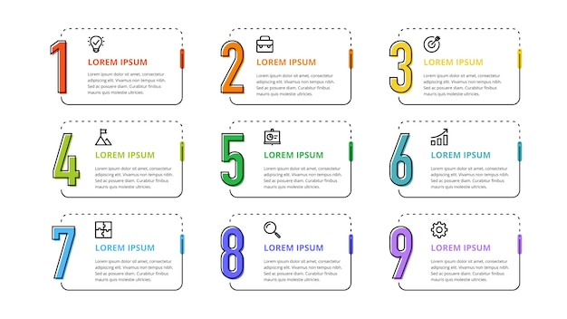 Numbers infographic for business options, steps, processes