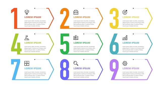 ビジネスオプション、ステップ、プロセスの番号インフォグラフィック