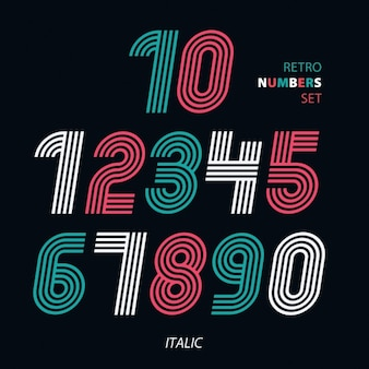 Numbers in italics , retro style