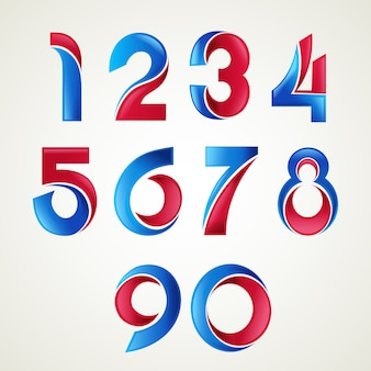 Numbers logo icons set.