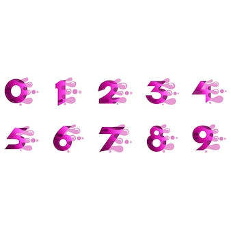 Numbers logo set with fast bubble shape