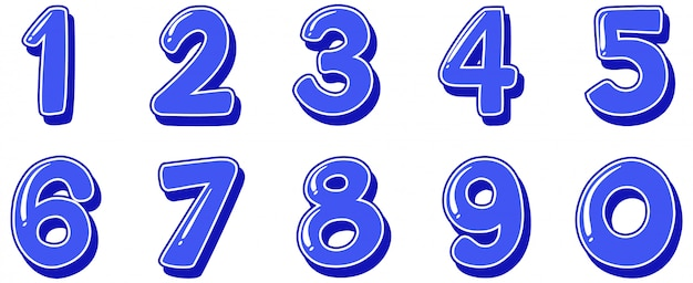 Цифры от одного до нуля на белом