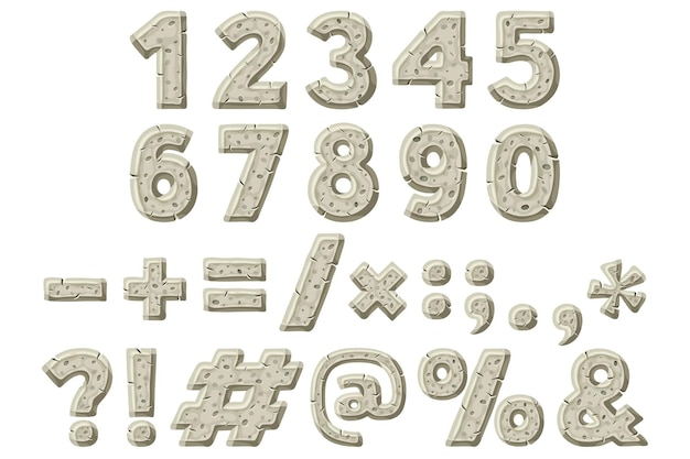 Numbers punctuation marks stone age