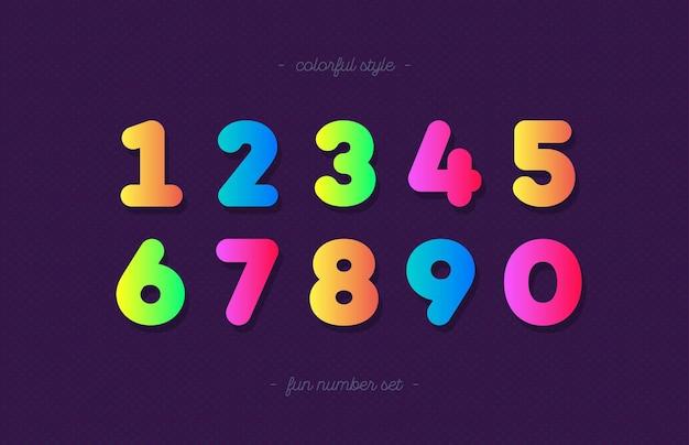 Номера набор мультяшном стиле модной типографии