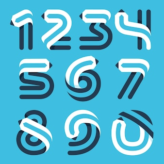 Numbers set formed by pencil. vector typeface for art identity, school headlines, education posters etc.