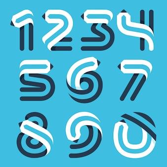 연필로 형성된 숫자 세트입니다. 예술 정체성, 학교 헤드라인, 교육 포스터 등을 위한 벡터 서체