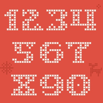 Numbers set is made of thick round knits flat style lettering with bonus icons