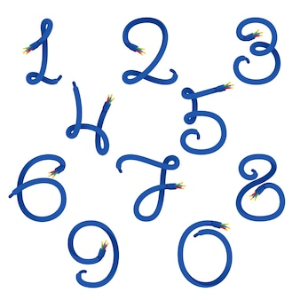 Numbers set logos formed by electric cable.