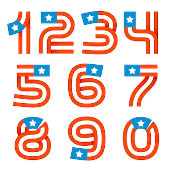 Numbers set logos with american stars and stripes. vector design for banner, presentation, web page, card, labels or posters.