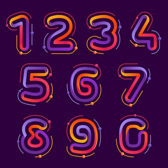 Numbers set logos with atoms orbits. bright color vector design for science, biology, physics, chemistry company.