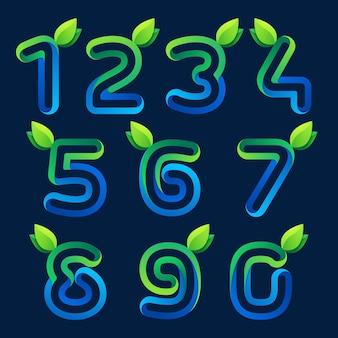Цифры устанавливают логотипы с зелеными листьями. элементы шаблона дизайна вектор для приложения экологии, презентации, веб-страницы, карты.