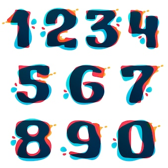 Numbers set logos with watercolor splashes