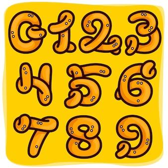 プレッツェル製の数字セット。背景にオクトーバーフェストパターンで手描き。ドイツ料理店の広告、パーティーのポスター、前菜のアイデンティティなどに使用するのに最適です。