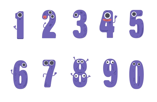 Numbers set in monster style