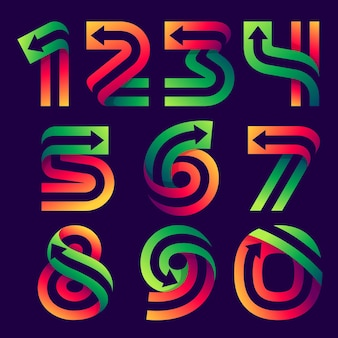 Numbers set with arrow inside. vector bright colours typeface for delivery labels, business headlines, finance posters, sport cards etc.