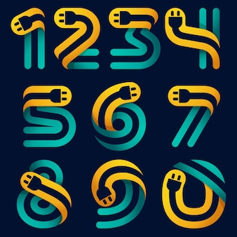 Numbers set with plug cable inside. vector typeface for electric car identity, technology headlines, charging posters etc. Premium Vector
