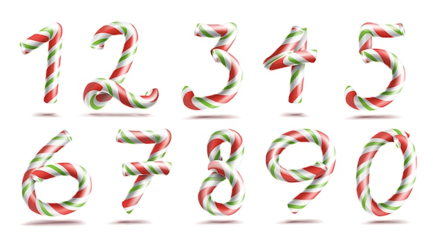 Numbers sign set candy cane