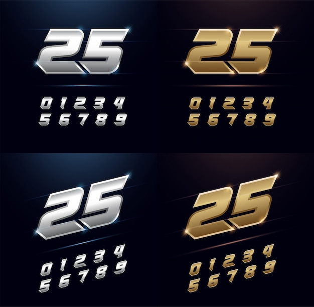 Numbers silver and golden metal alphabet font