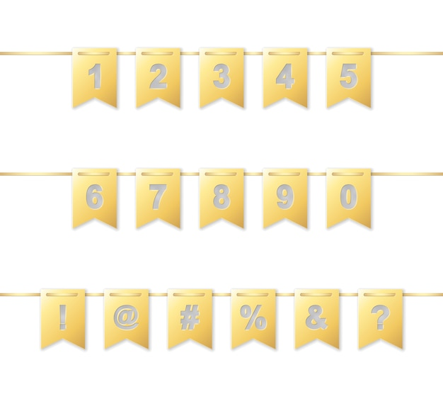 Numbers and strange characters on golden paper flag garland