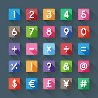 Numbers and symbols of colors