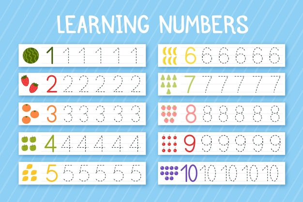 Numbers tracing template