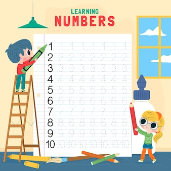 Numbers tracing worksheet for children